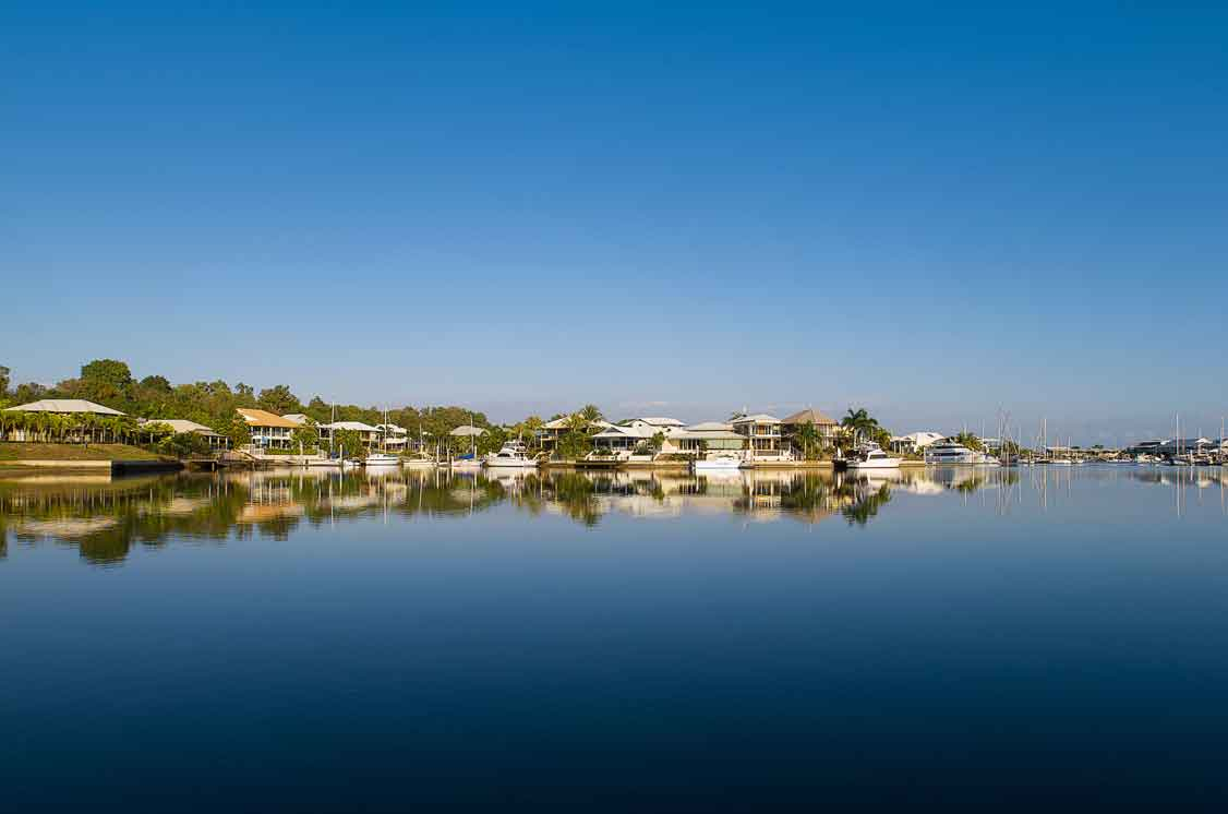 View of Cullen Bay luxury Marina housing estate NT