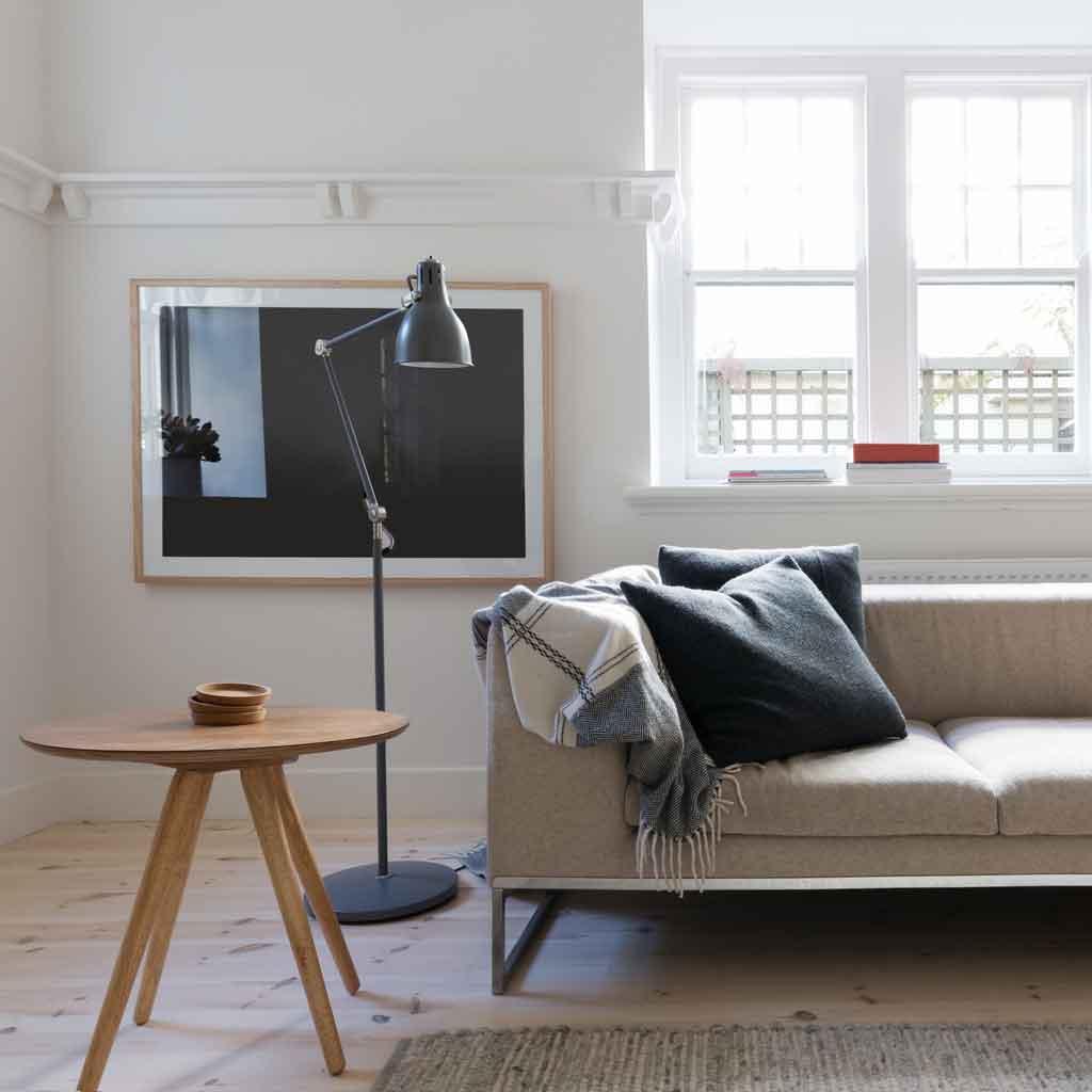 Scandi styled living room in art deco Australian apartment